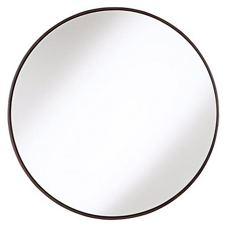 "Round Wood Trimmed 34"" Wide Wall Mirror"