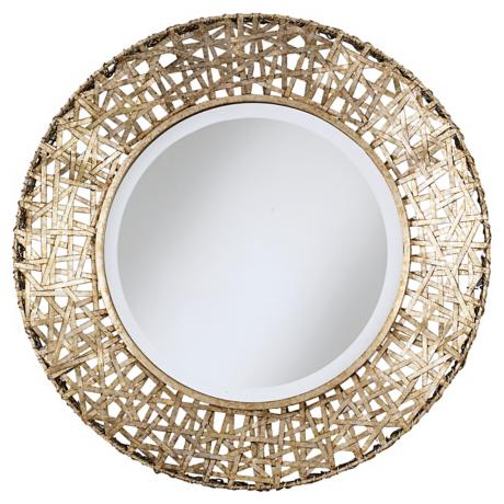 Champagne Finish Woven Metal Round Wall Mirror