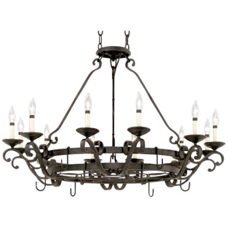 "Natural Iron 41 1/2"" Wide Pot Rack Chandelier"