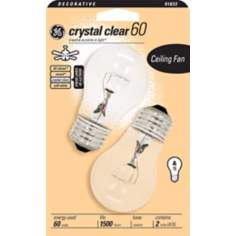 GE 60 Watt Crystal Clear 2-Pack Ceiling Fan Light Bulbs
