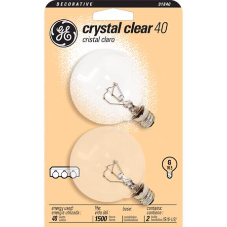 GE 40 Watt 2-Pack Clear Glass Globe Light Bulbs