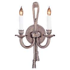 Rope/Tassel ADA Compliant Pewter Two Light Sconce