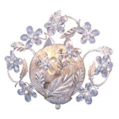 "Cut Crystal Flowers 10 3/4"" Wide Bathroom Wall Sconce"