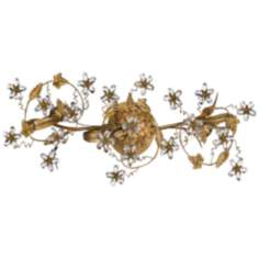 "Crystal Flower and Vine 25"" Wide Gold Bathroom Light Fixture"