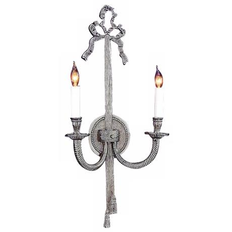 "Bow/Tassel 21"" High Pewter Two Light Wall Sconce"