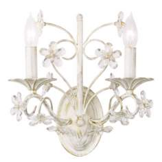 "Cut Crystal Flowers 12"" Wide Wall Sconce"