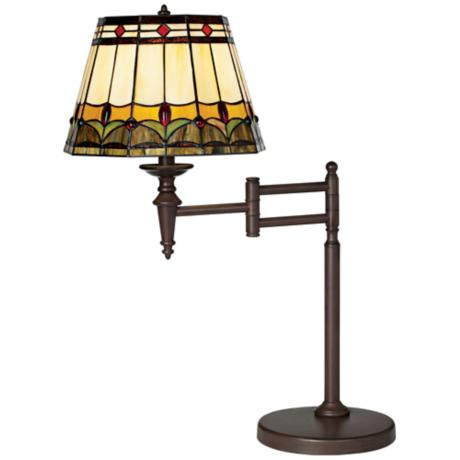 Mission Tiffany Style Bronze Swing Arm Desk Lamp