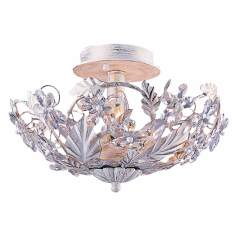 "Crystal Flowers 12"" Wide Antique White Ceiling Light Fixture"