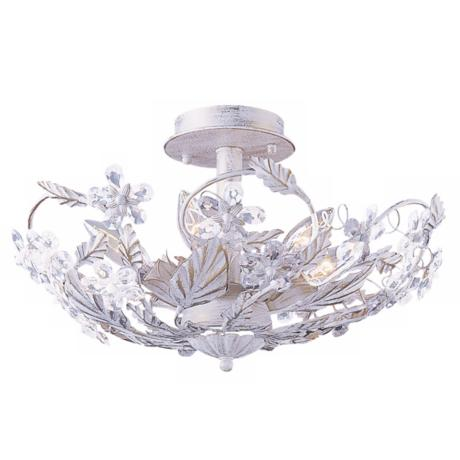 "Cut Crystal Flower 16"" Wide Ceiling Light Fixture"