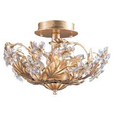 "Crystal Flowers 12"" Wide Antique Gold Ceiling Light Fixture"