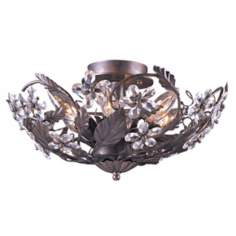 "Cut Crystal Flower 16"" Wide Bronze Ceiling Light Fixture"