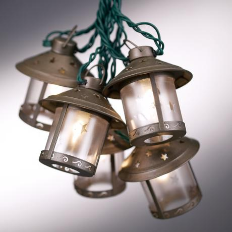 Metal Patio String Lights : Old Fashioned Metal Moon Lantern Party String Lights - #92681 LampsPlus.com