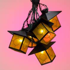 Mission Honey Paneled Lantern String Party Lights