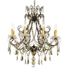 "James R. Moder Charleston Teak Crystal 28"" Wide Chandelier"