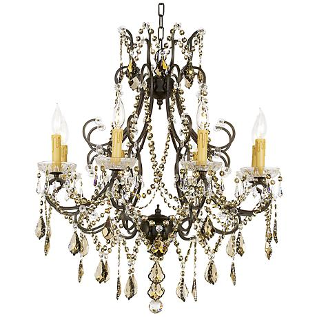 "wJames R. Moder Charleston Teak Crystal 28"" Wide Chandelier"