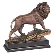 Bronze Lion Sculpture on Black Stand