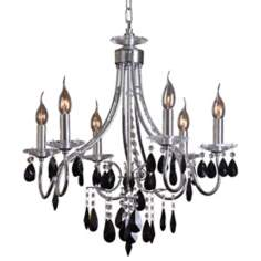 Grace Chrome Finish Six Light Black Crystal Chandelier