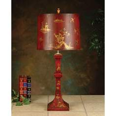 John Richard Red and Gold Oriental Table Lamp
