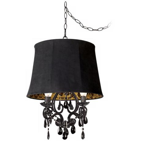 Black Glass Designer Faux Suede Shade Plug-In Chandelier