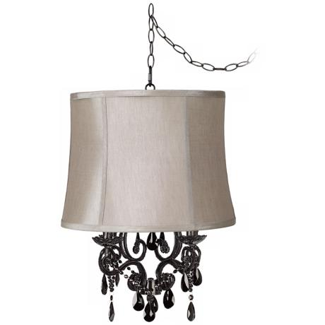 Black Glass Designer Taupe Shade Plug-In Chandelier