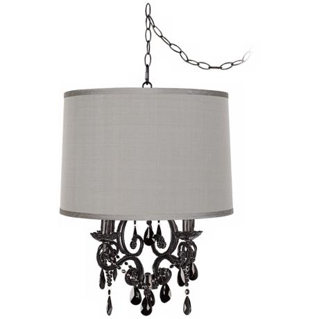 Black Glass Designer Grey Shade Plug-In Chandelier