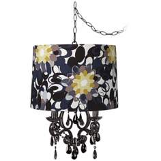 Black Glass Abstract Designer Shade Plug-In Chandelier