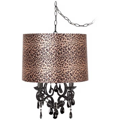 Black Glass Designer Leopard Shade Plug-In Chandelier