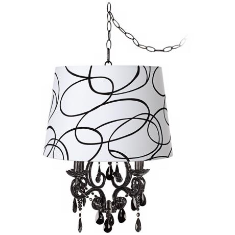 Black Glass Squiggle Designer Shade Plug-In Chandelier
