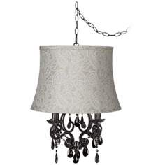 Black Glass Paisley Designer Shade Plug-In Chandelier