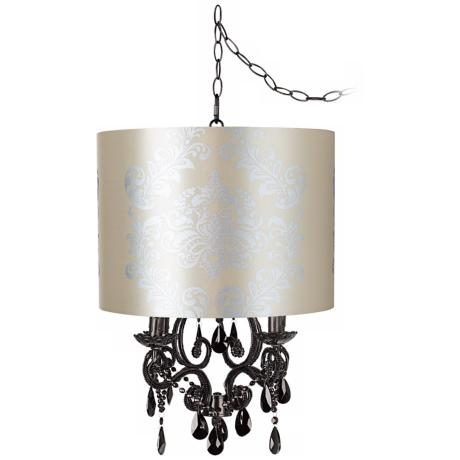 Black Glass Graphic Designer Shade Plug-In Chandelier
