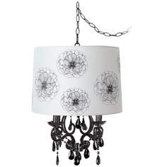 Black Glass Designer Flower Shade Swag Chandelier