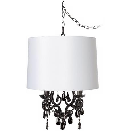 Black Glass Designer White Shade Swag Chandelier