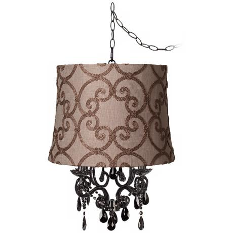 Black Glass Designer Burlap Shade Plug-In Chandelier