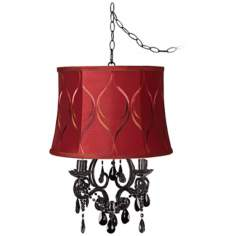 Black Glass Merlot Designer Shade Swag Chandelier