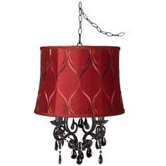 Black Glass Designer Merlot Shade Plug-In Chandelier