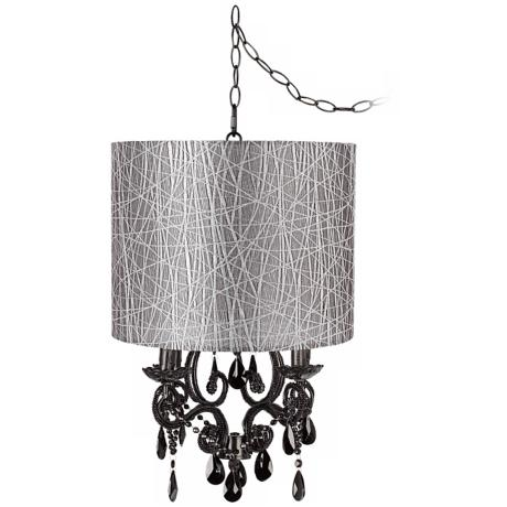 Black Glass Designer Silver Shade Plug-In Chandelier