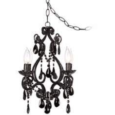 Black Glass Plug-in Swag Style 4-Light Chandelier