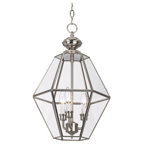 "Brushed Nickel with Clear Glass 12"" Wide Foyer Pendant Light"