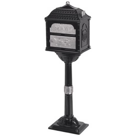 Black Classic Mailbox With Pedestal
