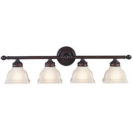 "Feiss New London 33"" Wide Bronze Bathroom Fixture"