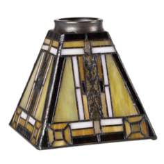 "2 1/4"" Fitter Set of Four Mission Tiffany Glass Shades"