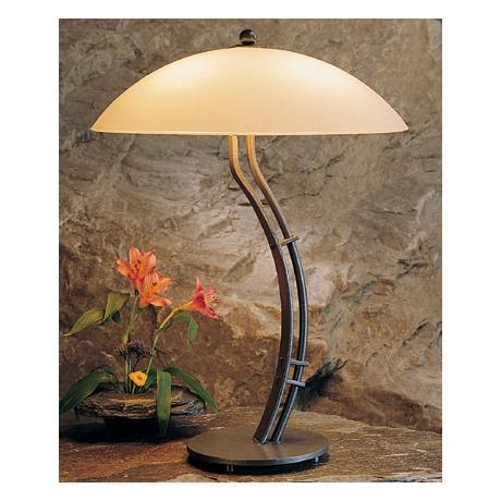 Hubbardton Forge Curved Metra Table Lamp with Opal Shade