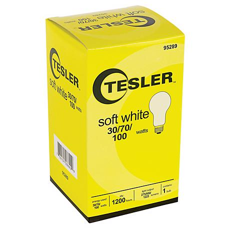 Tesler 30 70 100 Watt Soft White A21 Light Bulb