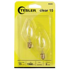 Tesler 15 Watt 2-Pack Candelabra Clear Light Bulbs