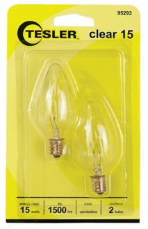 Tesler 15 Watt 2-Pack Candelabra Clear Light Bulbs (95293) 95293