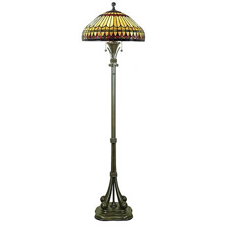 Tiffany Floor Lamp with Feather Glass Shade