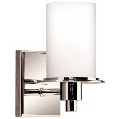"Polished Nickel and Etched Glass 8 1/2"" High Wall Sconce"