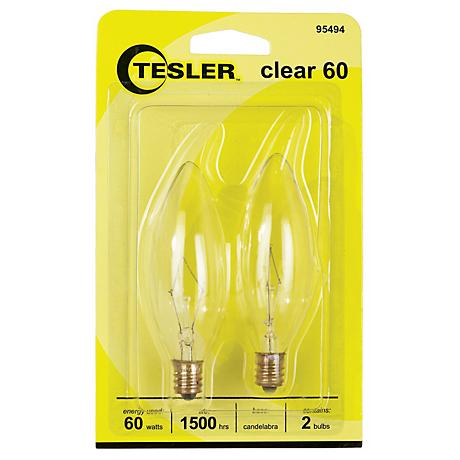 Tesler 60 Watt 2-Pack Blunt Tip Candelabra Light Bulbs