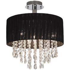 Possini Euro Black Fabric Drum and Crystal Ceiling Light