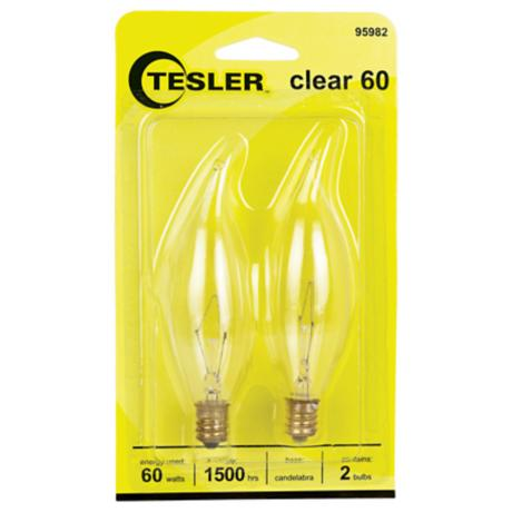 Tesler 60 Watt 2-Pack Bent Tip Candelabra Light Bulbs
